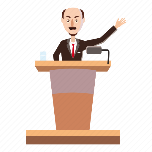 bald, cartoon, conference, podium, rostrum, speaker, suit icon