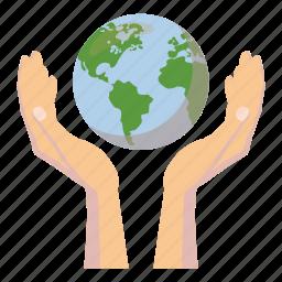 cartoon, global, globe, hand, planet, sphere, world icon