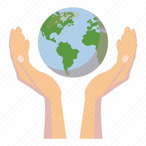 cartoon, global, globe, hand, planet, sphere, world icon