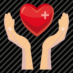 care, cartoon, hand, health, heart, help, human icon
