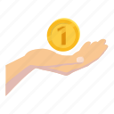 cartoon, coin, currency, finance, hand, money, one icon