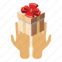 box, cartoon, gift, holding, holiday, present, ribbon icon