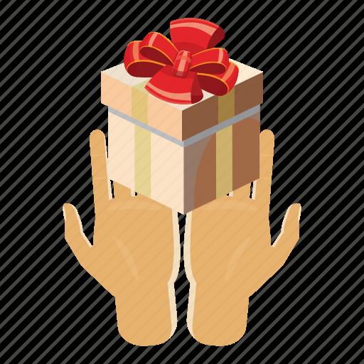 box, cartoon, gift, holding, holiday, present, ribbon icon