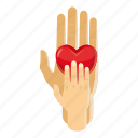 care, cartoon, child, hand, heart, human, kid icon