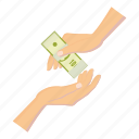 banknote, cartoon, currency, dollar, finance, hand, money icon