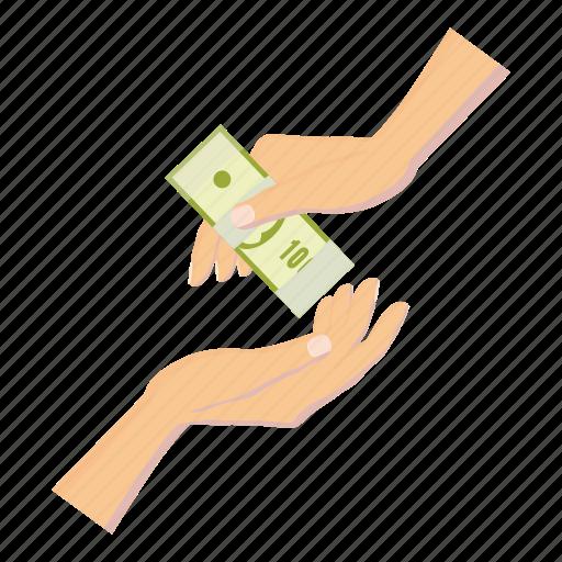 banknote, cartoon, currency, dollar, finance, hand, money icon