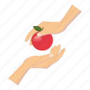 apple, cartoon, delicious, diet, food, hand, healthy icon