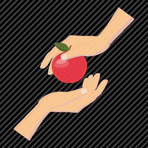 Apple, cartoon, delicious, diet, food, hand, healthy icon - Download on Iconfinder