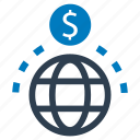 fundraising, global, money, network, transaction icon
