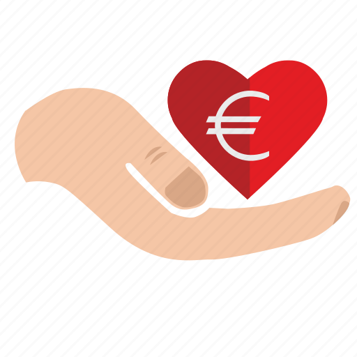 add, charity, donate, euro, heart, mercy, money icon