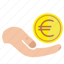 charity, donate, euro, hand, mercy, money icon
