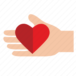 charity, donate, gift, hand, heart, help, mercy icon