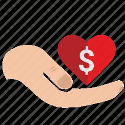 charity, dollar, donate, heart, help, mercy, money, usd icon