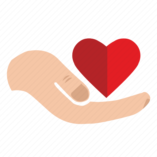charity, donate, hand, heart, help, mercy icon