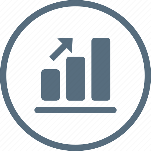 analytics, arrow, chart, column, graph, growth, up icon