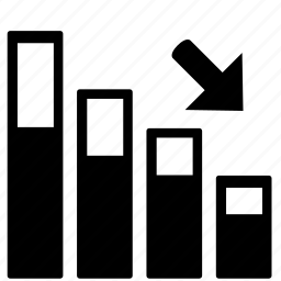 bar, chart, decrease icon