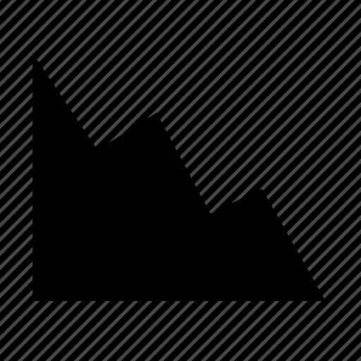 analytics, area, chart, decrease icon