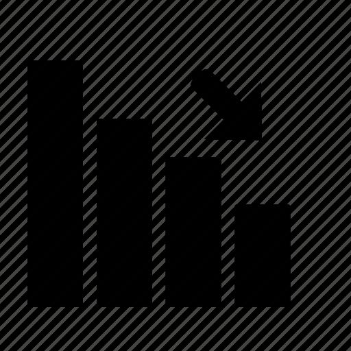 analytics, bar, chart, decrease icon