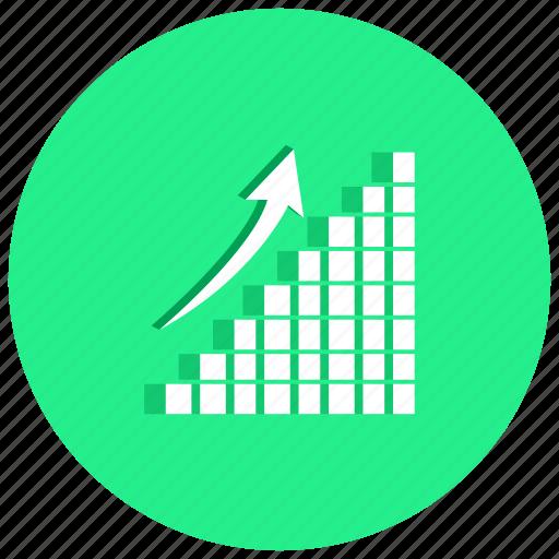 arrow, blocks, charts, graph, rise, rising icon