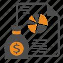analytics, charts, dashboard, document, kpi, money, report icon