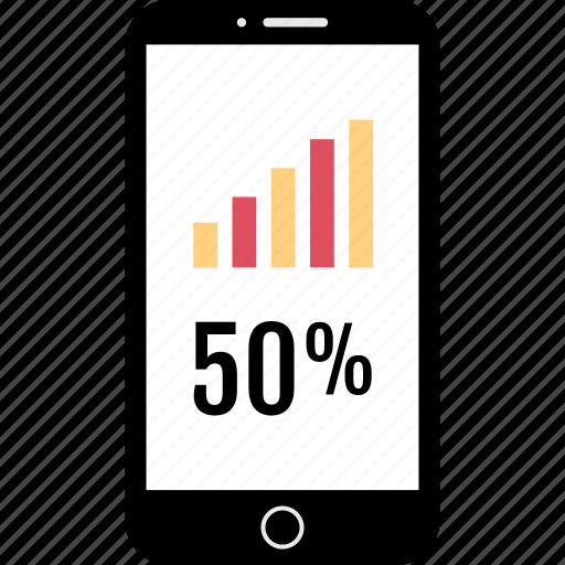 data, graph, mobile, report icon