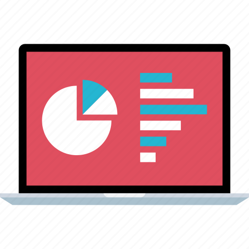 chart, graph, laptop, online icon