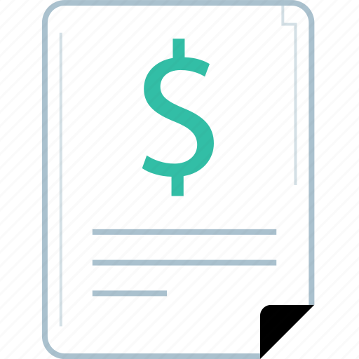 dollar, page, report, sign icon