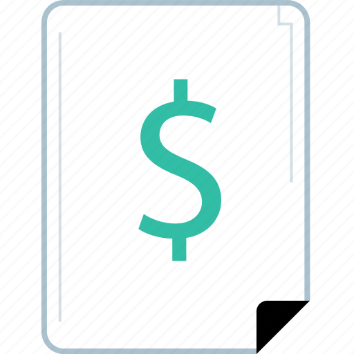 dollar, page, reprot, sign icon