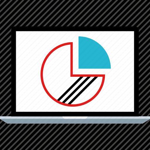 chart, graph, laptop, pie icon