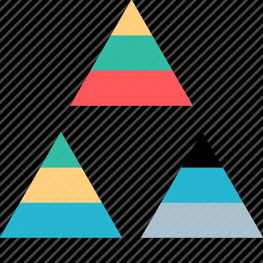 pyramid, seo, three icon