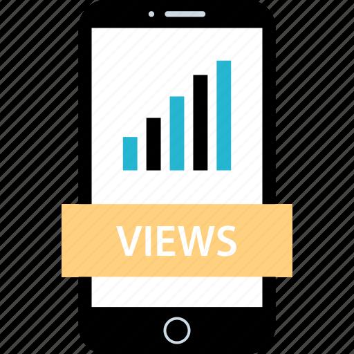 analytics, data, mobile, views icon
