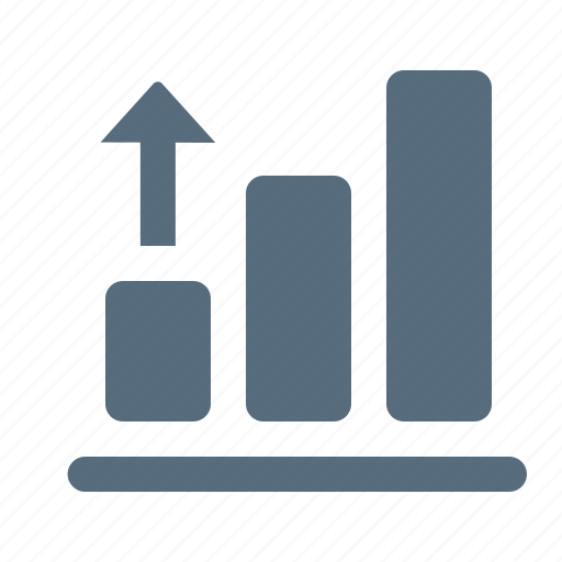 analytics, arrow, chart, column, graph, growth, up icon