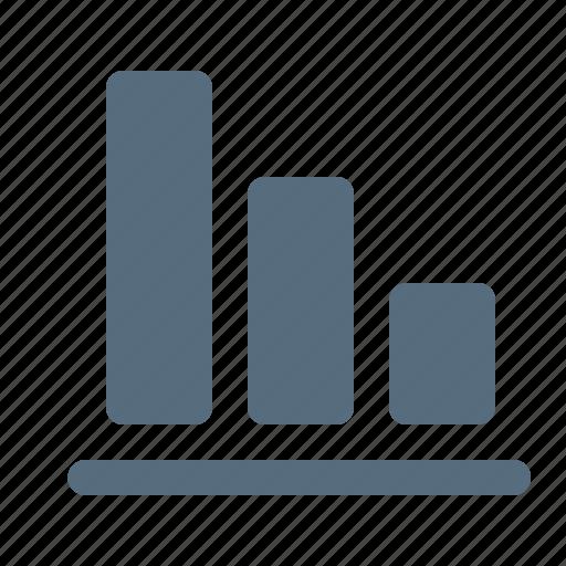 analytics, arrow, chart, column, down, graph, loss icon