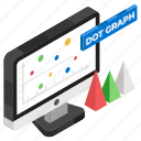 dot chart, dot graph, infographic, online data, scattered chart, statistics icon