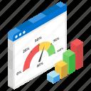dial chart, gauge chart, infographic, speedometer chart, statistics, web analytics, web traffic icon