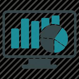 analytics, bar chart, diagram, graph, monitor, pie, statistics icon