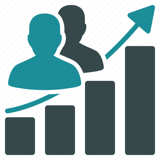 audience, bar chart, business, group, growth, people, trend icon