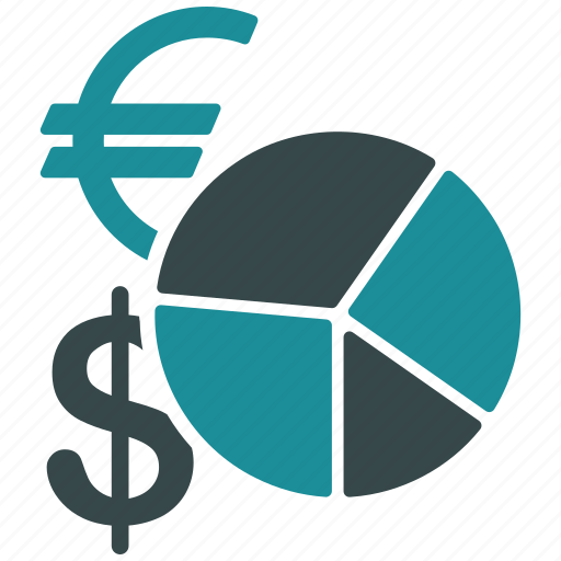 business, currency, dollar, euro, exchange rate, money, pie chart icon