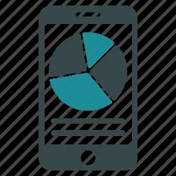 analytics, data, iphone, mobile, phone, pie chart, report icon