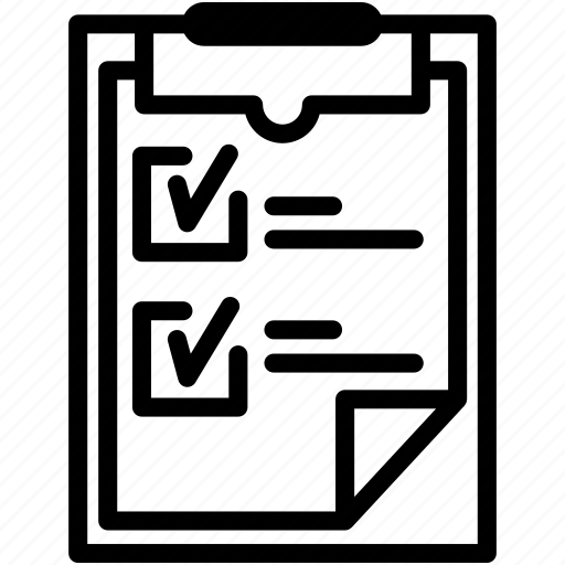 checklist, clipboard, mark, page, pen, pencil, tick icon