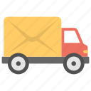 mail delivery vehicle, mail distribution service, mail lorry, mail truck, mail van icon