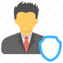business defense, business insurance concept, business protection, business stability, business warrior icon
