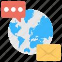 global communication, internet communication, online communication, social media, worldwide communication icon