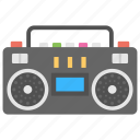audio player, boombox, cassette player, ghetto blaster, retro music player icon
