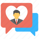 heart speech bubble, love chat, love messaging, romantic chatting, romantic conversation icon