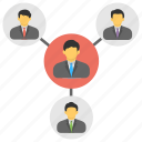 business community network, business networking group, connected people in network, distant work, network collaboration icon