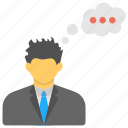 business planning, businessman thought, businessman with thought bubble, career thinking concept, thinking businessman icon