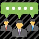business communication, business meeting, information sharing, organization, professional communication icon