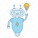 chat bot, chatbot, idea, invention, lightbulb, robot, solution icon