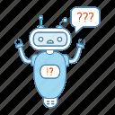 chat bot, chat box, chatbot, faq, question marks, robot, speech bubble icon